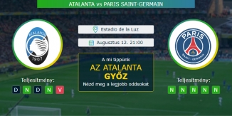 Atalanta - Paris Saint-Germain 12.08.2020 Tippek Bajnokok Ligája