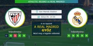 Athletic Bilbao - Real Madrid 05.07.2020 Tippek La Liga