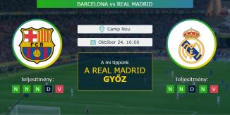 Barcelona - Real Madrid 24.10.2020 Tippek La Liga