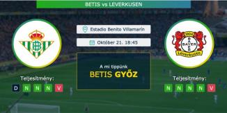 Betis – Leverkusen 21.10.2021 Tippek Európa Liga