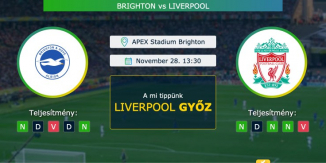 Brighton – Liverpool 28.11.2020 Tippek Premier League