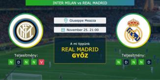 Inter - Real Madrid 25.11. 2020 Tippek Bajnokok Ligája
