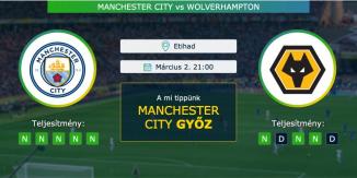 Manchester City – Wolverhampton 02.03.2021 Tippek Premier League