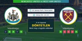Newcastle United – West Ham United 05.07.2020 Tippek Premiere League