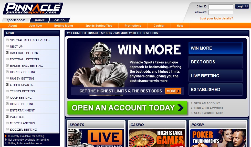 pinnacle sports homepage