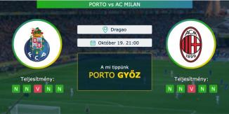 Porto – Ac Milan 19.10.2021 Tippek Bajnokok Ligája