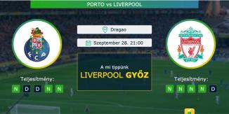 Porto – Liverpool 28.09.2021 Tippek Bajnokok Ligája