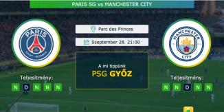 Paris SG – Manchester City 28.09.2021 Tippek Bajnokok Ligája