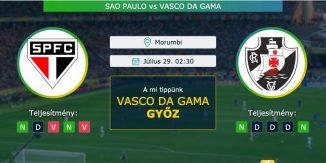 Sao Paulo – Vasco da Gama 29.07.2021 Tippek Brazil-kupa