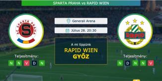 Sparta Praha – Rapid Wien 28.07.2021 Tippek BL-selejtező
