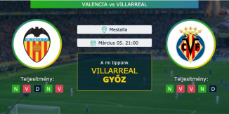 Valencia – Villarreal 05.03.2021 Tippek La Liga
