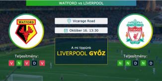 Watford – Liverpool 16.10.2021 Tippek Premier League