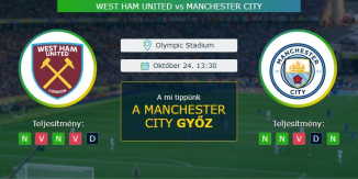 West Ham United - Manchester City 24.10.2020 Tippek Premier League